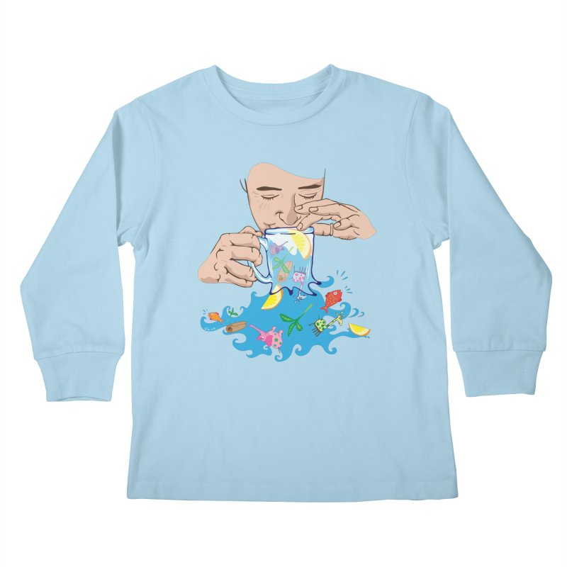 Surreal tea time Kids Longsleeve T-Shirt by Dror Miler's Artist Shop