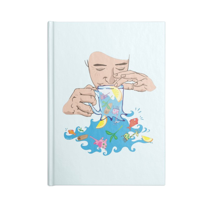 Surreal tea time Accessories Notebook by Dror Miler's Artist Shop