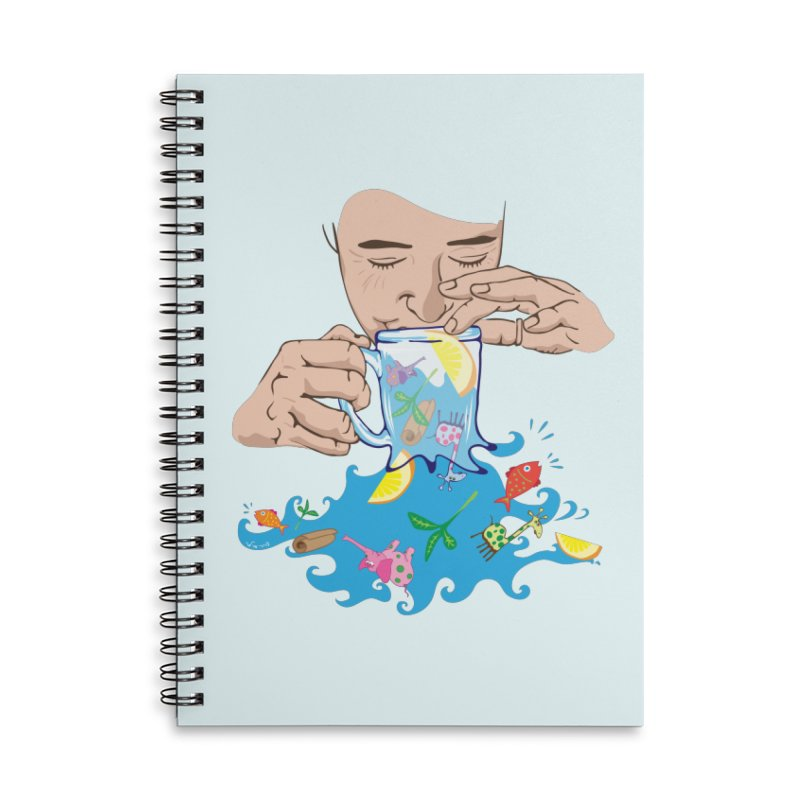 Surreal tea time Accessories Lined Spiral Notebook by Dror Miler's Artist Shop
