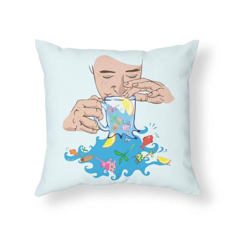 Surreal tea time Home Throw Pillow by Dror Miler's Artist Shop