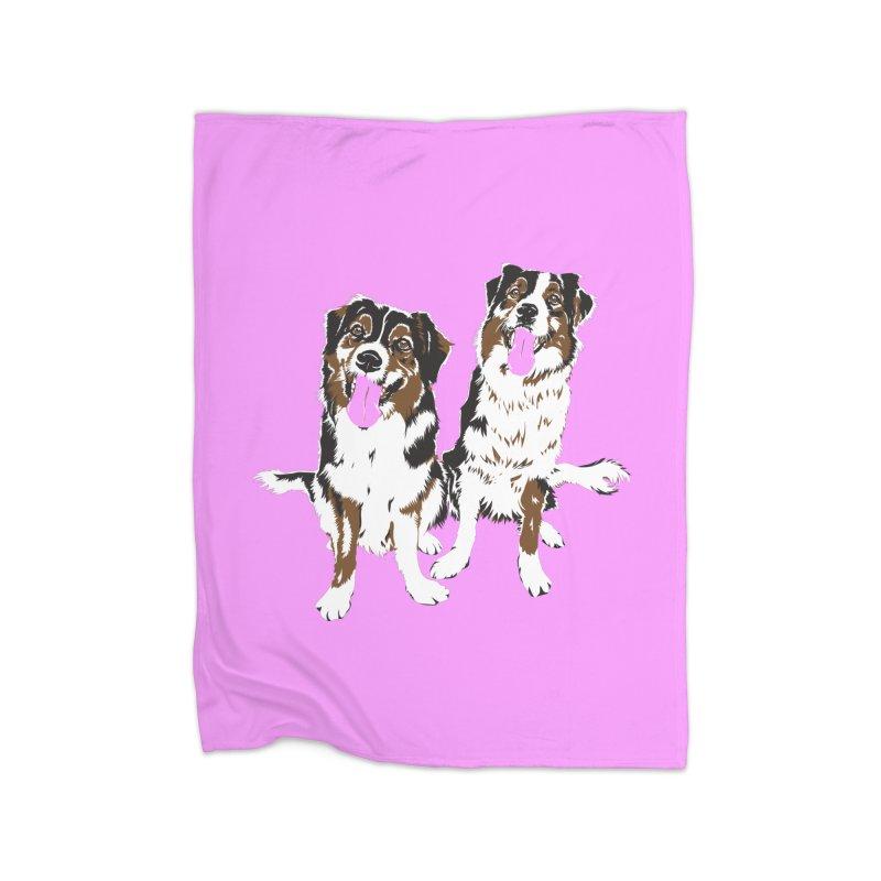Half & Tilu - Pink BG Home Fleece Blanket Blanket by Dror Miler's Artist Shop