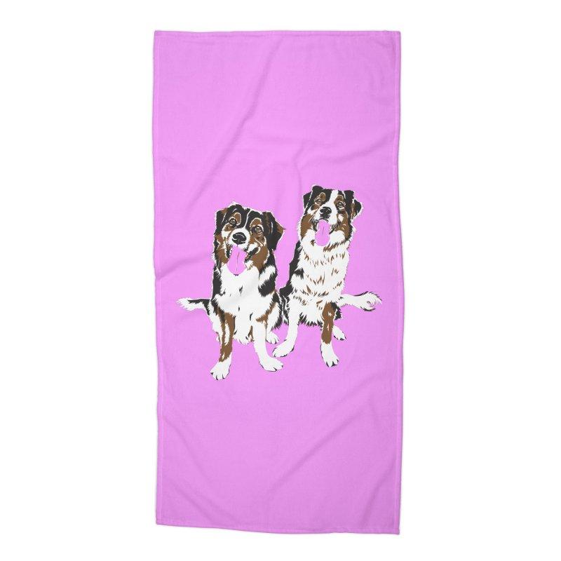 Half & Tilu - Pink BG Accessories Beach Towel by Dror Miler's Artist Shop