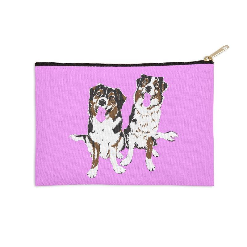 Half & Tilu - Pink BG Accessories Zip Pouch by Dror Miler's Artist Shop