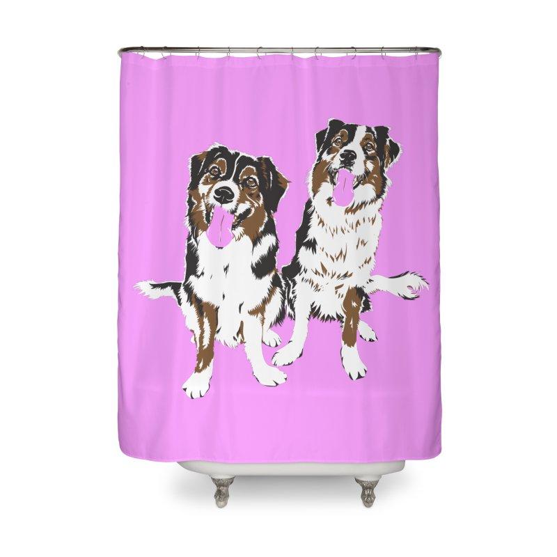 Half & Tilu - Pink BG Home Shower Curtain by Dror Miler's Artist Shop