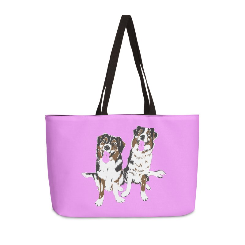 Half & Tilu - Pink BG Accessories Weekender Bag Bag by Dror Miler's Artist Shop
