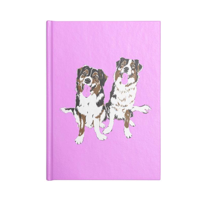 Half & Tilu - Pink BG Accessories Lined Journal Notebook by Dror Miler's Artist Shop