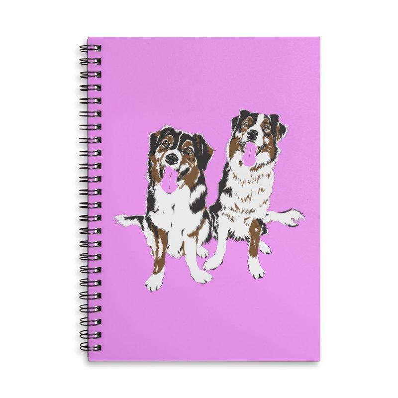 Half & Tilu - Pink BG Accessories Lined Spiral Notebook by Dror Miler's Artist Shop