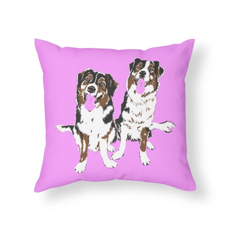 Half & Tilu - Pink BG Home Throw Pillow by Dror Miler's Artist Shop