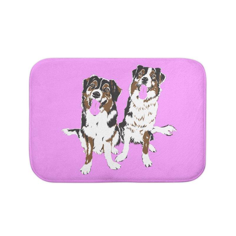 Half & Tilu - Pink BG Home Bath Mat by Dror Miler's Artist Shop