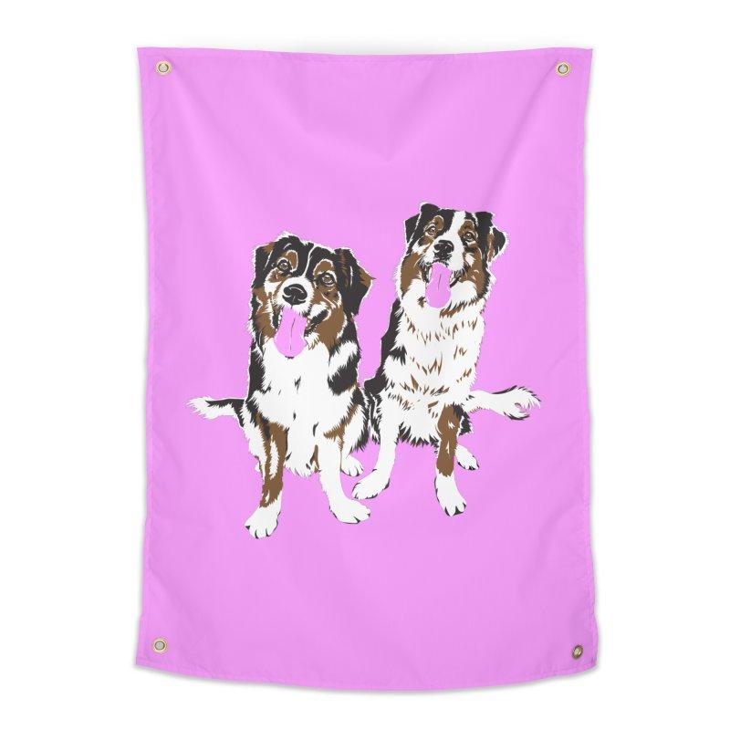 Half & Tilu - Pink BG Home Tapestry by Dror Miler's Artist Shop