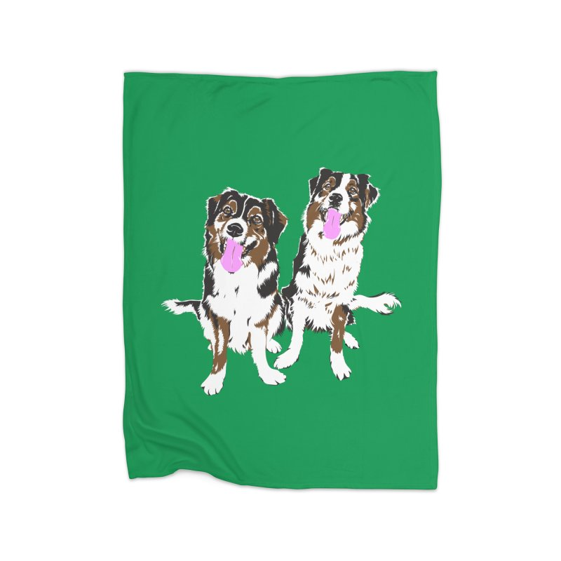Half & Tilu - Green BG Home Fleece Blanket Blanket by Dror Miler's Artist Shop