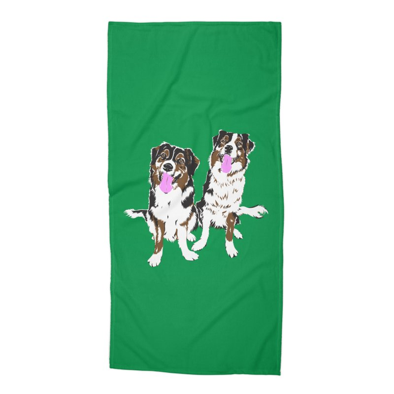 Half & Tilu - Green BG Accessories Beach Towel by Dror Miler's Artist Shop