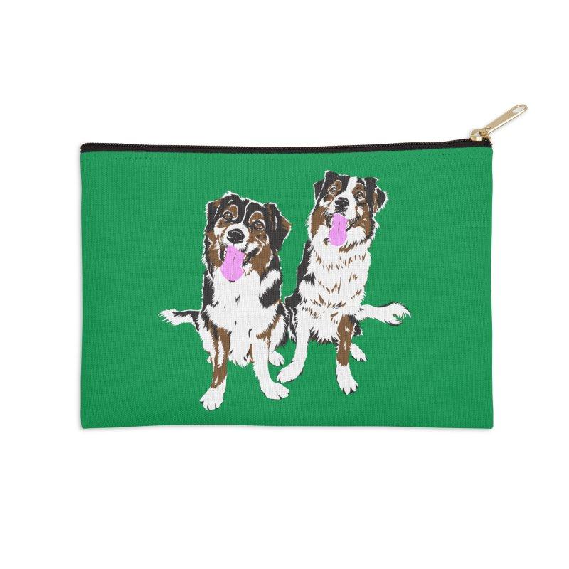 Half & Tilu - Green BG Accessories Zip Pouch by Dror Miler's Artist Shop