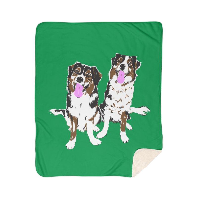 Half & Tilu - Green BG Home Sherpa Blanket Blanket by Dror Miler's Artist Shop