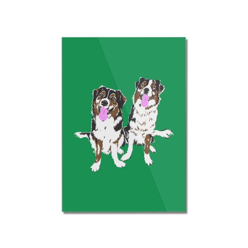 Half & Tilu - Green BG Home Mounted Acrylic Print by Dror Miler's Artist Shop