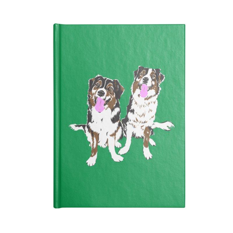 Half & Tilu - Green BG Accessories Lined Journal Notebook by Dror Miler's Artist Shop