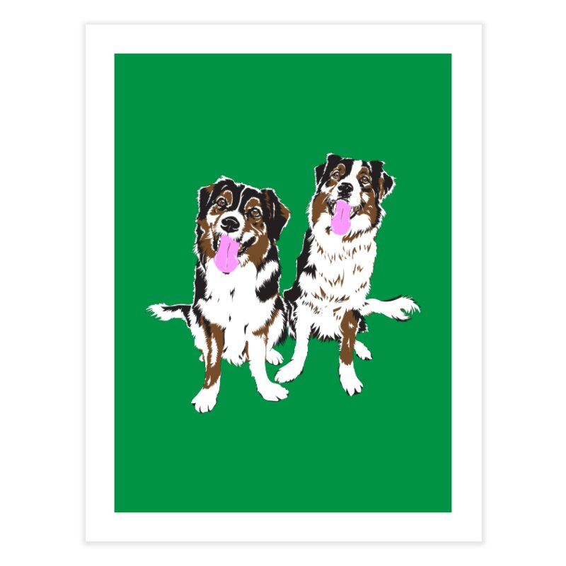 Half & Tilu - Green BG Home Fine Art Print by Dror Miler's Artist Shop
