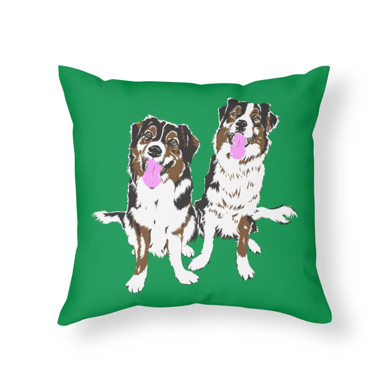 Half & Tilu - Green BG Home Throw Pillow by Dror Miler's Artist Shop
