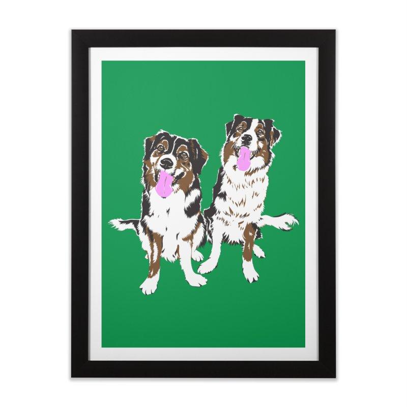 Half & Tilu - Green BG Home Framed Fine Art Print by Dror Miler's Artist Shop