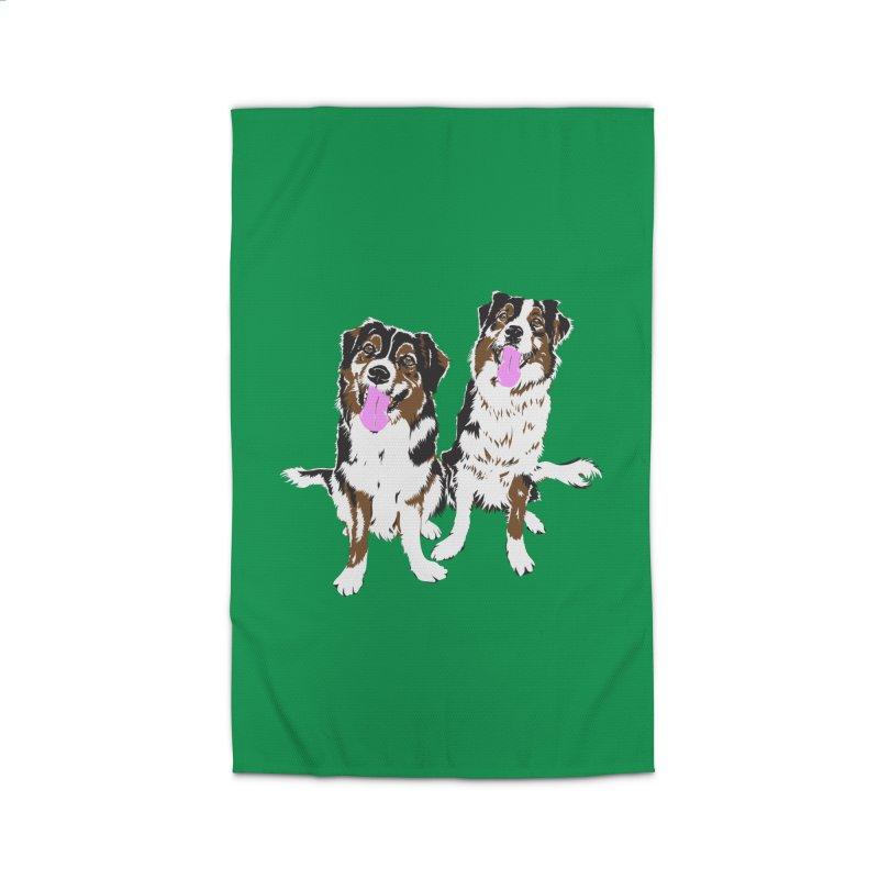 Half & Tilu - Green BG Home Rug by Dror Miler's Artist Shop