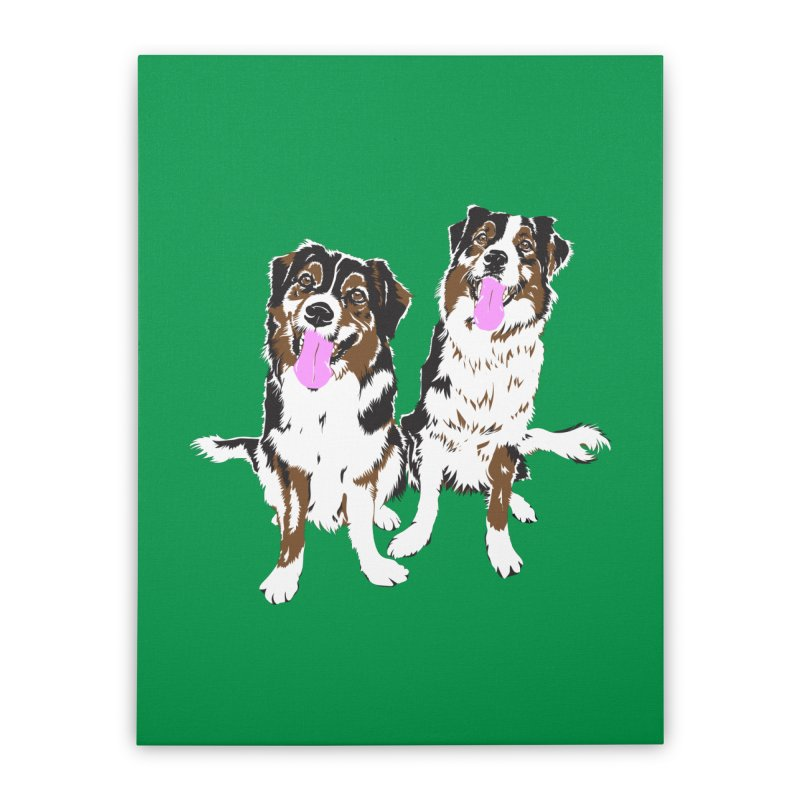 Half & Tilu - Green BG Home Stretched Canvas by Dror Miler's Artist Shop