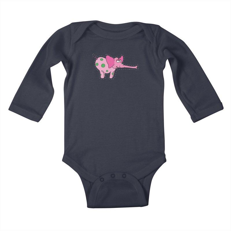 Pink elephant with green dots Kids Baby Longsleeve Bodysuit by Dror Miler's Artist Shop