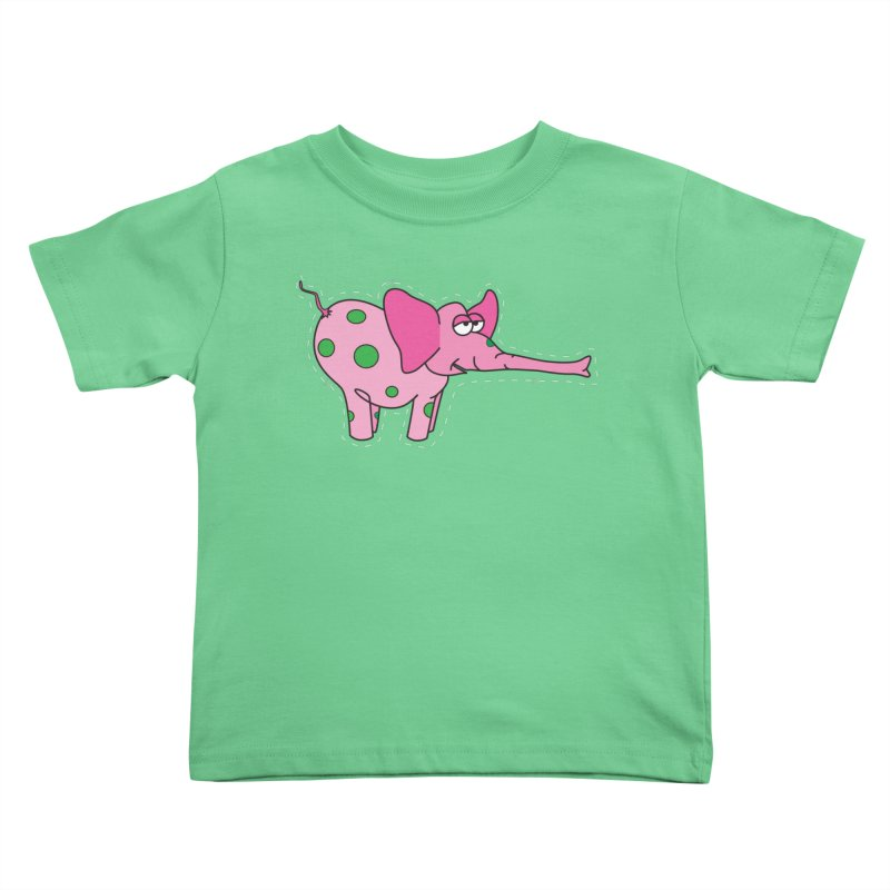 Pink elephant with green dots Kids Toddler T-Shirt by Dror Miler's Artist Shop