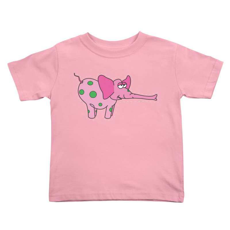 Pink elephant with green dots in Kids Toddler T-Shirt Light Pink by Dror Miler's Artist Shop
