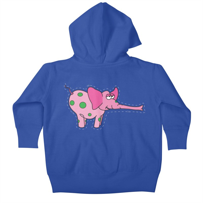 Pink elephant with green dots Kids Baby Zip-Up Hoody by Dror Miler's Artist Shop