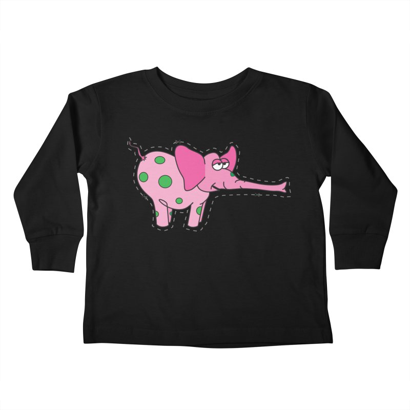 Pink elephant with green dots Kids Toddler Longsleeve T-Shirt by Dror Miler's Artist Shop