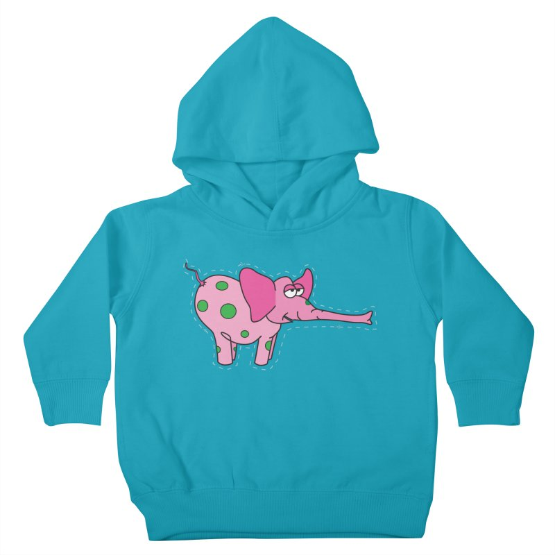 Pink elephant with green dots Kids Toddler Pullover Hoody by Dror Miler's Artist Shop