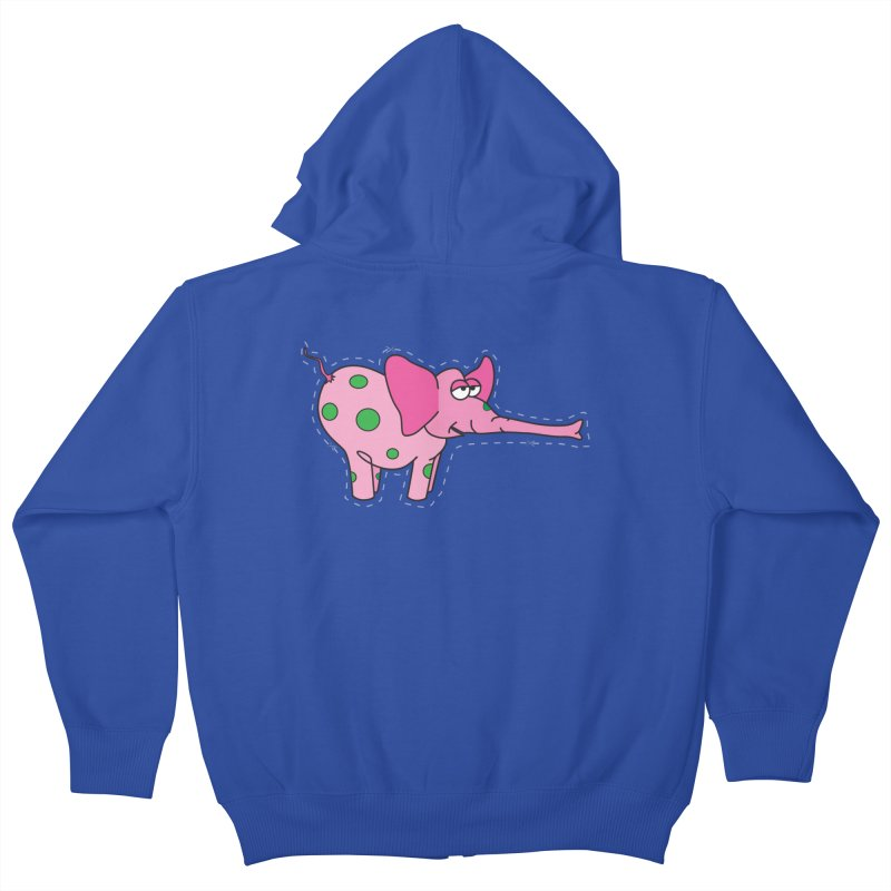 Pink elephant with green dots Kids Zip-Up Hoody by Dror Miler's Artist Shop