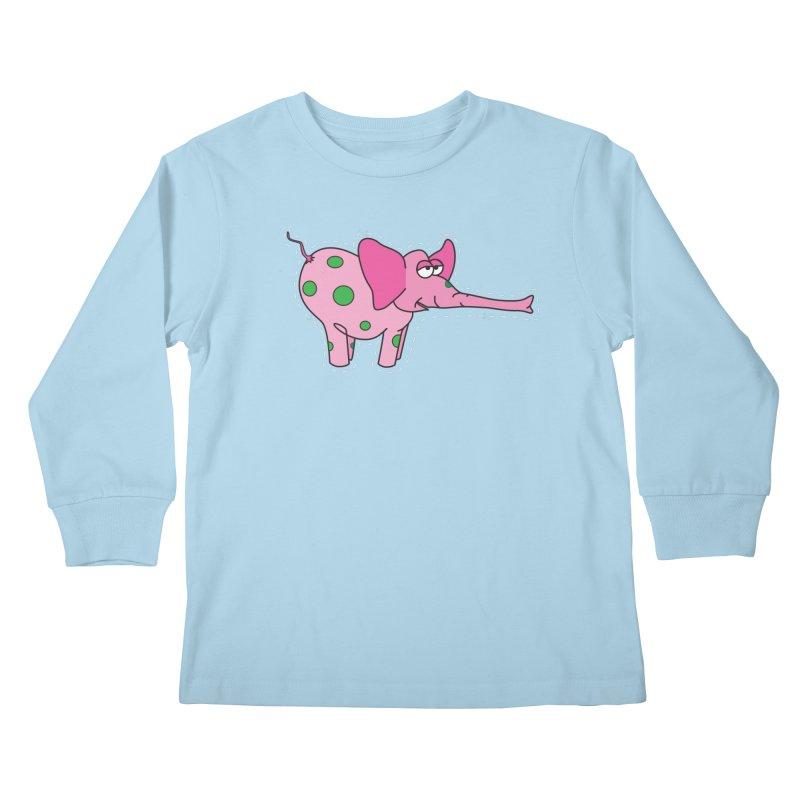 Pink elephant with green dots Kids Longsleeve T-Shirt by Dror Miler's Artist Shop