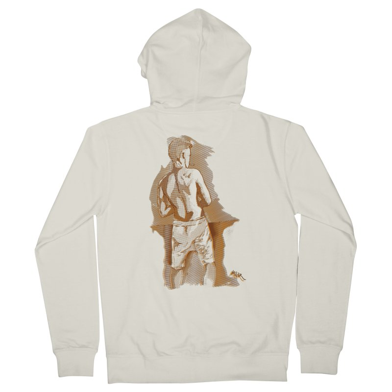 Smoking guy Men's Zip-Up Hoody by Dror Miler's Artist Shop