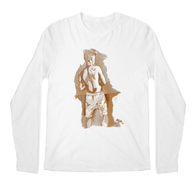 Smoking guy Men's Longsleeve T-Shirt by Dror Miler's Artist Shop
