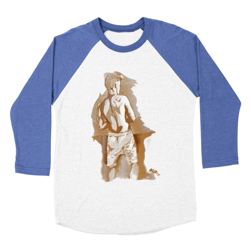 Smoking guy Men's Baseball Triblend T-Shirt by Dror Miler's Artist Shop
