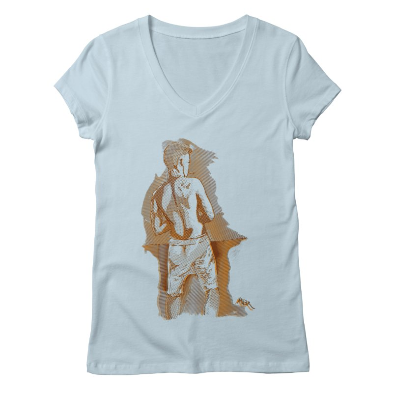 Smoking guy Women's V-Neck by Dror Miler's Artist Shop