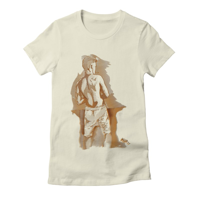 Smoking guy Women's Fitted T-Shirt by Dror Miler's Artist Shop