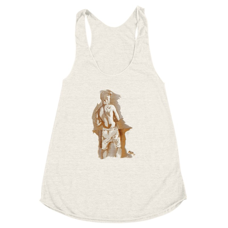 Smoking guy Women's Racerback Triblend Tank by Dror Miler's Artist Shop
