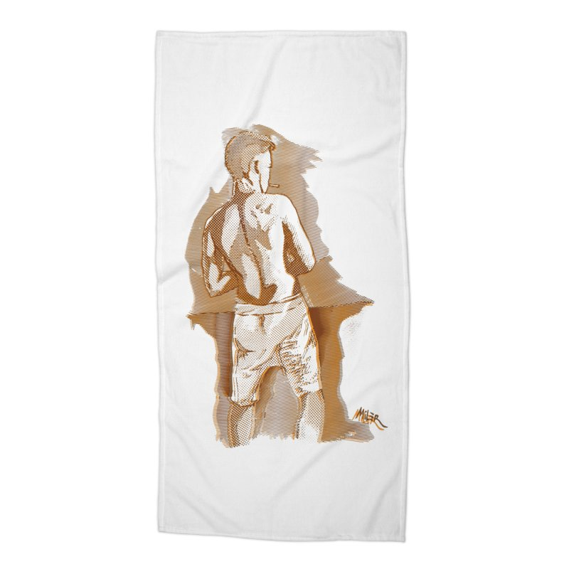 Smoking guy Accessories Beach Towel by Dror Miler's Artist Shop