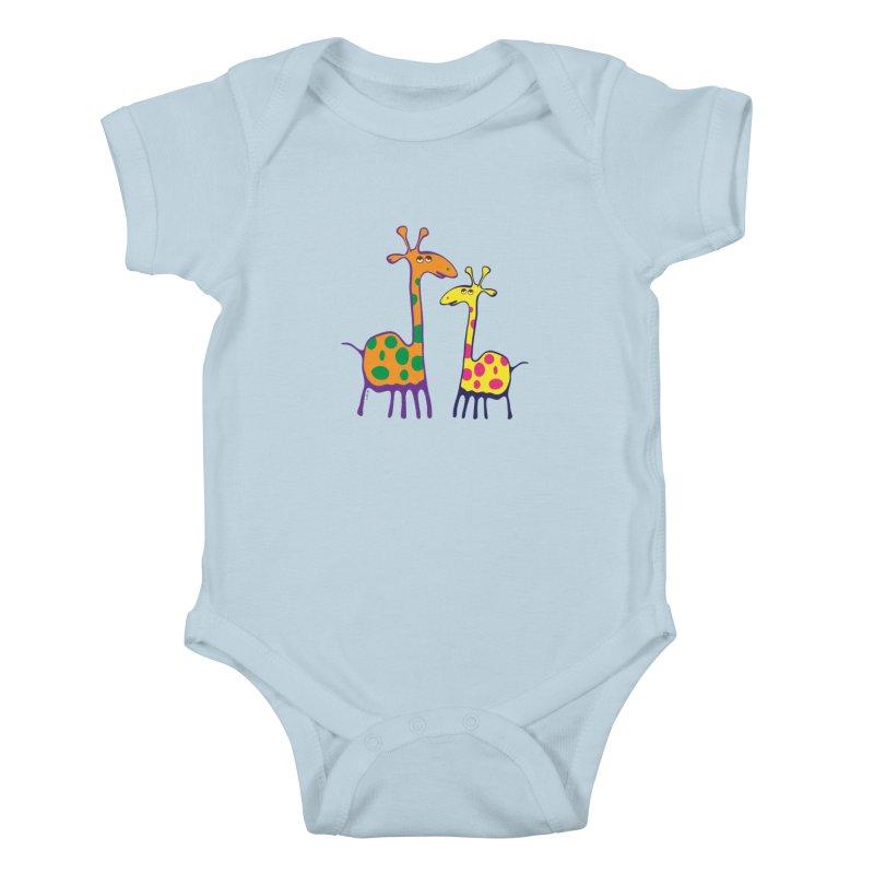 Couple of colorful giraffes Kids Baby Bodysuit by Dror Miler's Artist Shop