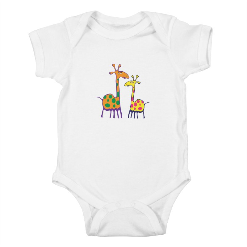 Couple of colorful giraffes Kids Baby Bodysuit by Dror Miler's Artist Shop