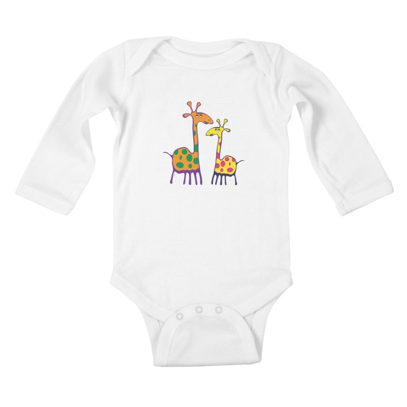 Couple of colorful giraffes Kids Baby Longsleeve Bodysuit by Dror Miler's Artist Shop