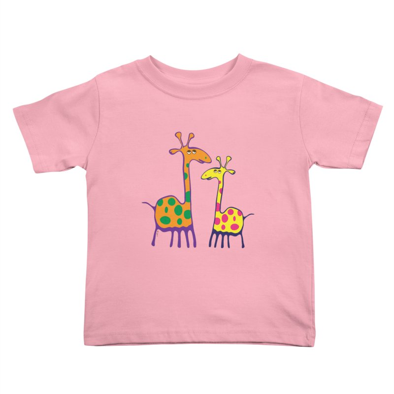 Couple of colorful giraffes Kids Toddler T-Shirt by Dror Miler's Artist Shop