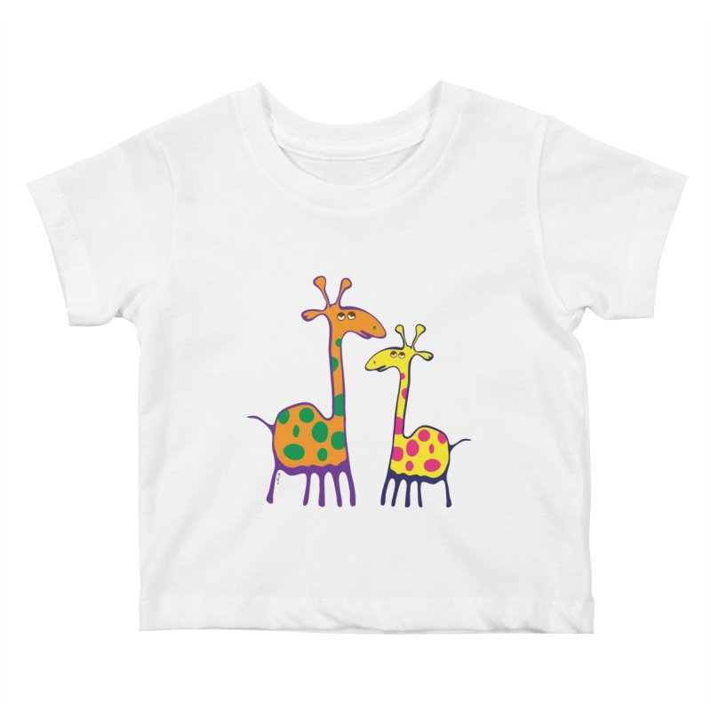 Couple of colorful giraffes Kids Baby T-Shirt by Dror Miler's Artist Shop