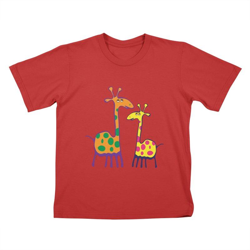 Couple of colorful giraffes Kids T-Shirt by Dror Miler's Artist Shop