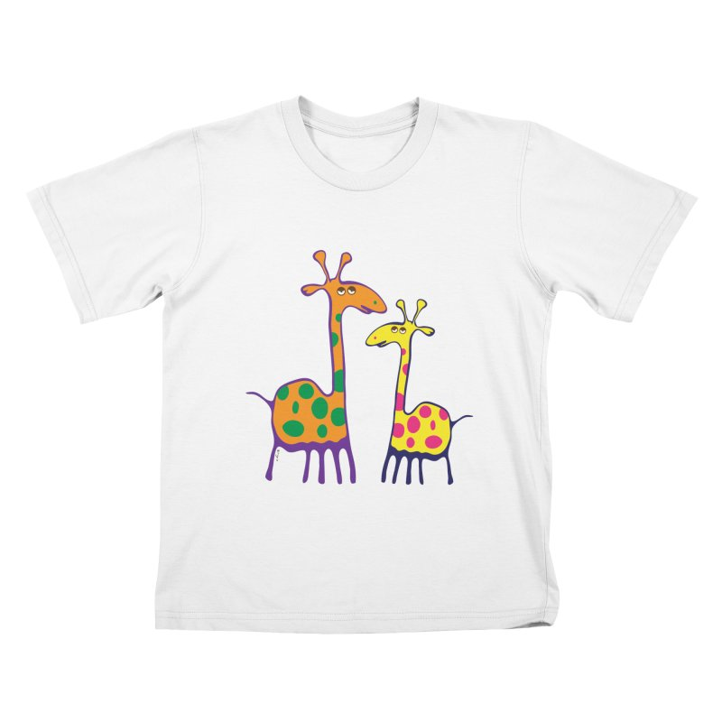 Couple of colorful giraffes Kids T-shirt by Dror Miler's Artist Shop