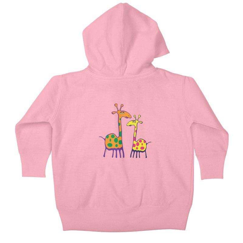 Couple of colorful giraffes Kids Baby Zip-Up Hoody by Dror Miler's Artist Shop