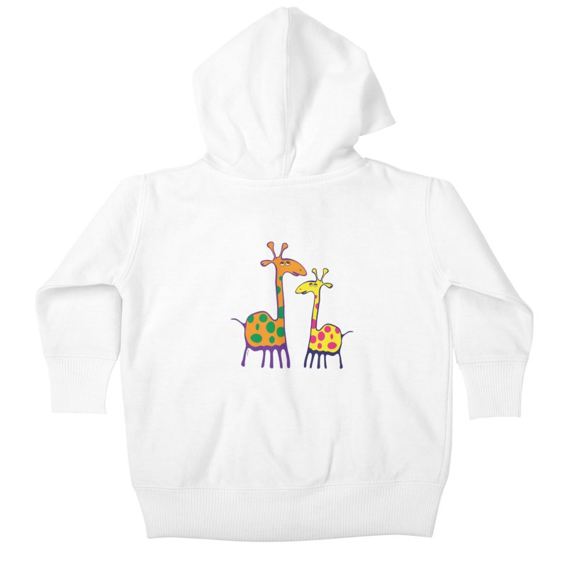 Couple of colorful giraffes Kids Baby Zip-Up Hoody by Dror Miler's Artist Shop