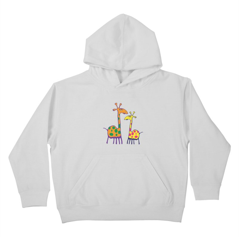 Couple of colorful giraffes Kids Pullover Hoody by Dror Miler's Artist Shop